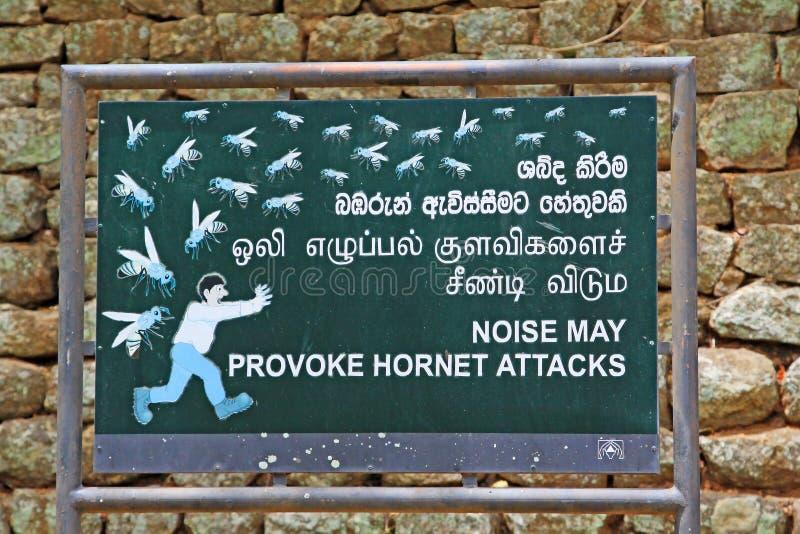 Шум может спровоцировать доску нападений шершня в Sigiriya Шри-Ланке стоковое фото