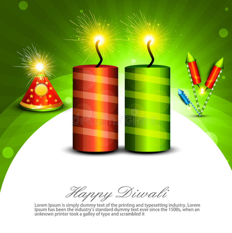 Шутихи b красивого diya Diwali украшения счастливого сияющие иллюстрация штока