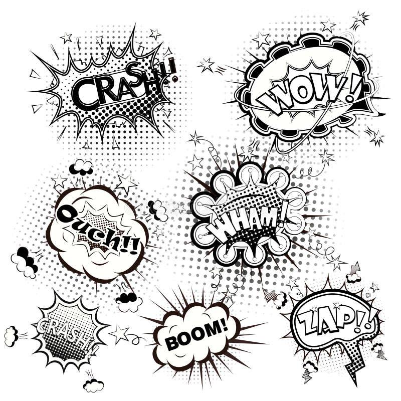 Шуточная речь клокочет черно-белый вектор иллюстрация вектора