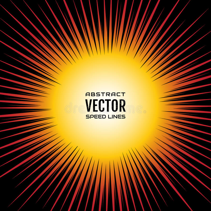 Шуточная скорость выравнивает радиальную предпосылку, как солнце Иллюстрация красного желтого градиента праздничная с взрывом сил бесплатная иллюстрация