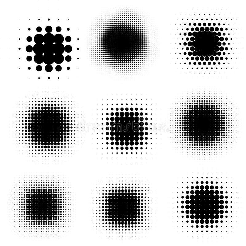 Шуточная чернота помаркой шаржа затеняет шаблон, комплект иллюстрации вектора полутонового изображения иллюстрация штока