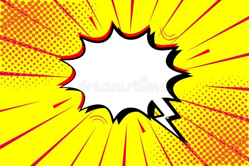 Шуточное искусства шипучки ретро Желтая предпосылка Точки полутонового изображения взрыва молнии Шарж против вектор иллюстрация вектора