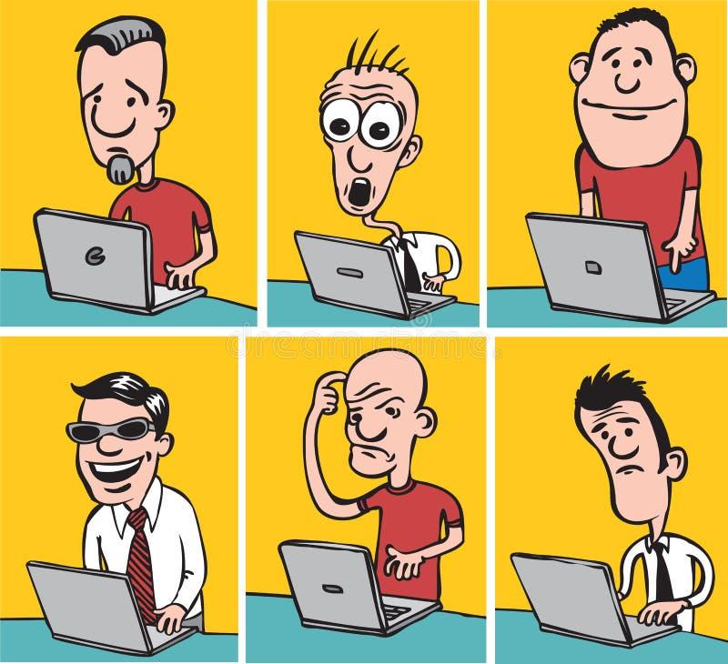 Шуточные парни doodle с компьтер-книжками иллюстрация штока