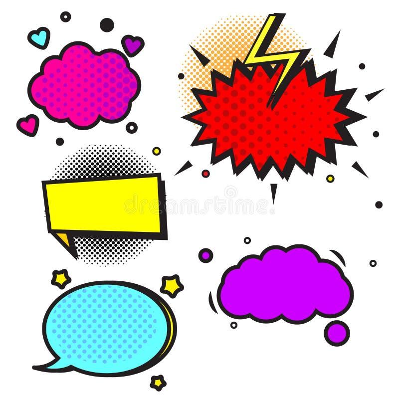 Шуточные пузыри и облака речи Шаблоны вектора для страниц комиксов ярлыки ретро стиля искусства попа пустые, стикеры для рекламы иллюстрация вектора