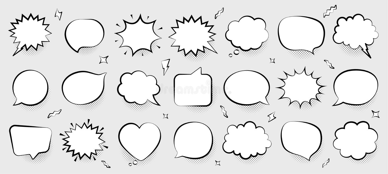 Шуточные пузыри речи Думая и говоря облака Ретро формы пузырей Тень полутонового изображения r бесплатная иллюстрация