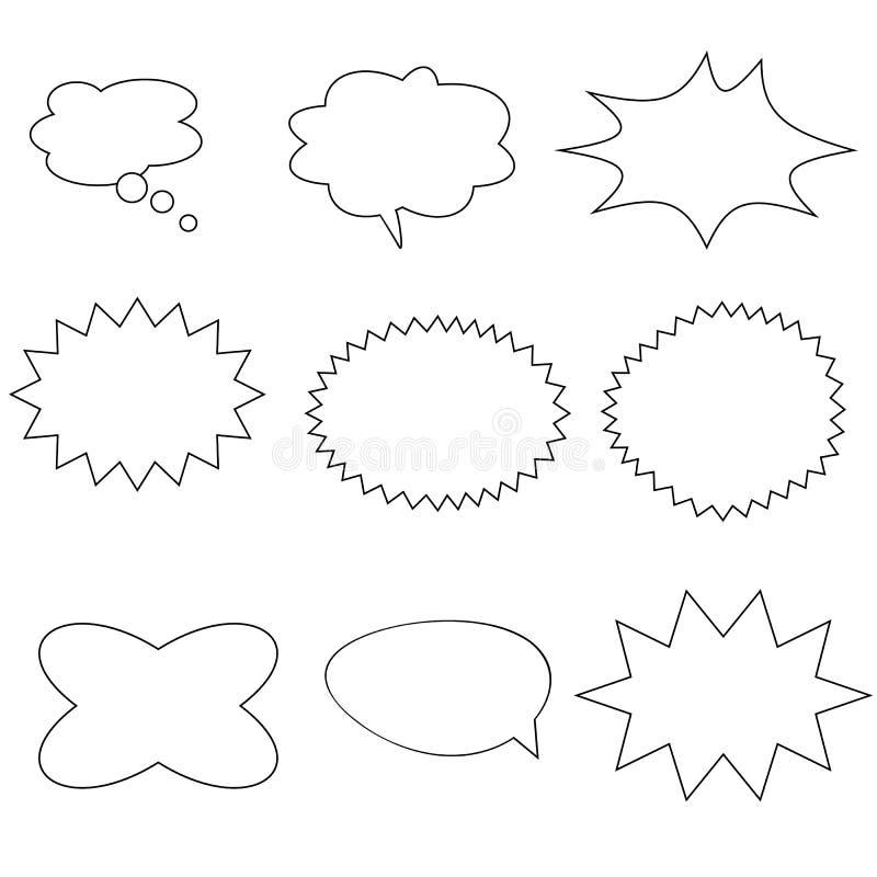 Шуточные пузыри речи на белой предпосылке ретро пустое шуточное bubb иллюстрация вектора