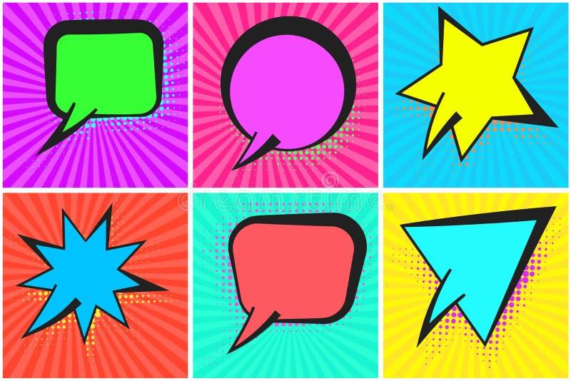 Шуточные пузыри речи с красочными тенями полутонового изображения бесплатная иллюстрация
