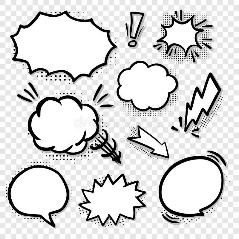 Шуточные пустые установленные пузыри речи иллюстрация штока