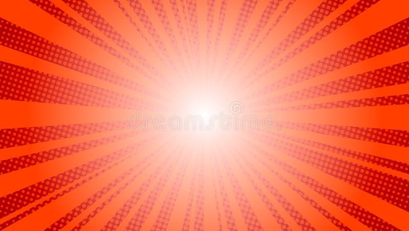 Шуточный красный чертеж китча иллюстрации вектора искусства попа предпосылки лучей солнца ретро иллюстрация штока
