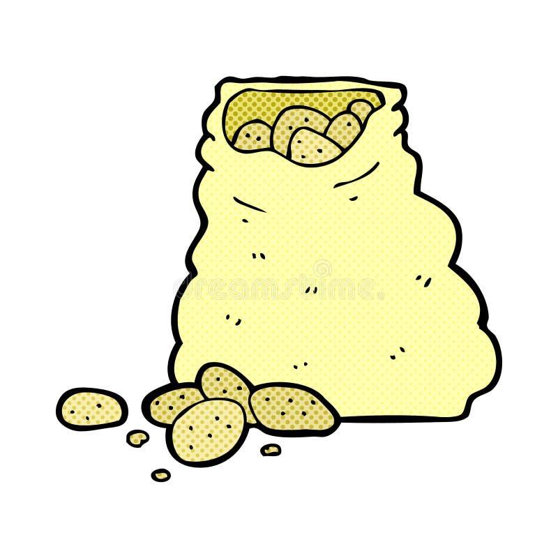 шуточный мешок шаржа картошек иллюстрация штока