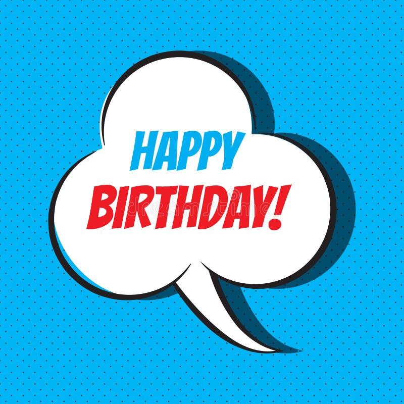 Шуточный пузырь речи с фразой с днем рождения иллюстрация штока
