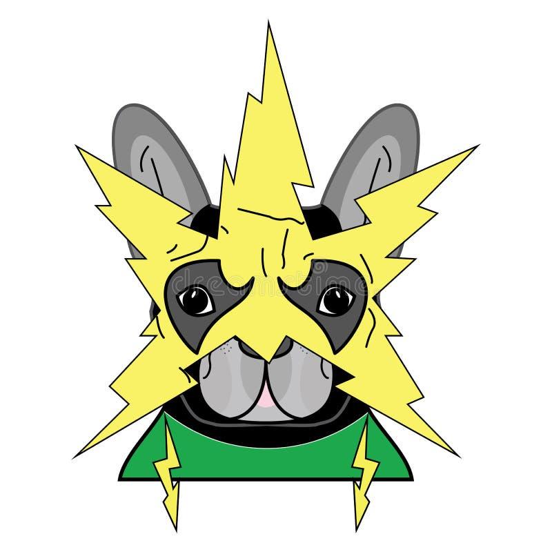 Шуточный символ злодейки в костюме с желтой маской молнии внутри и зеленом костюме как характер французского бульдога иллюстрация вектора
