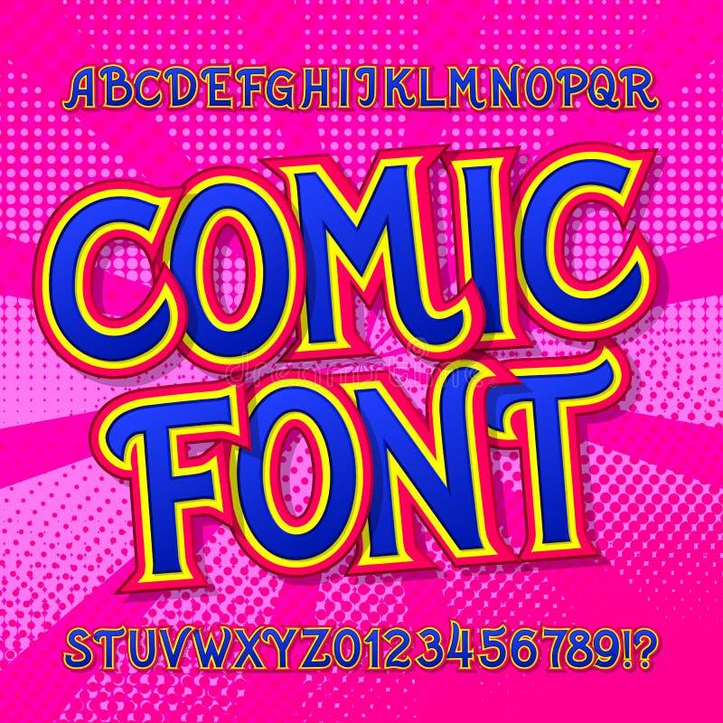 Шуточный шрифт Комиксы и алфавит стиля искусства попа Красочные смешные письма и номера иллюстрация штока