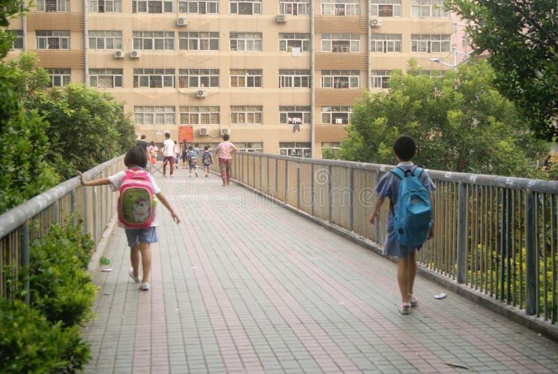 Шэньчжэнь, Китай: студенты по пути домой от школы стоковое изображение rf