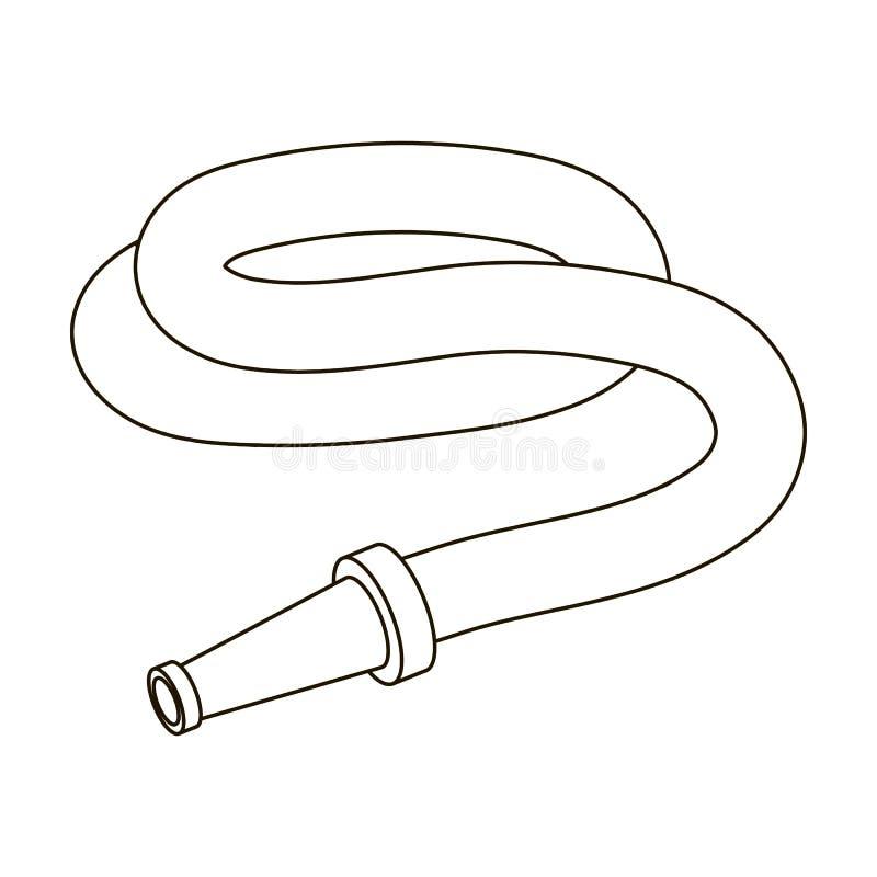 Шланг сада с соплом Шланг для моча кроватей Обрабатывайте землю и садовничая одиночный значок в запасе символа вектора стиля план иллюстрация штока