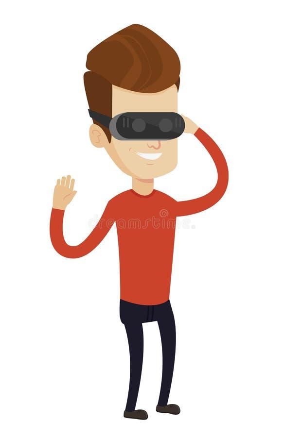 Шлемофон виртуальной реальности человека нося бесплатная иллюстрация