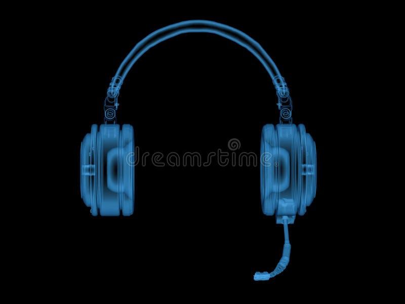 Шлемофон или наушники рентгеновского снимка с микрофоном иллюстрация штока