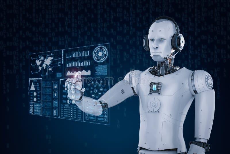Шлемофон робота нося и работа с виртуальным дисплеем иллюстрация штока