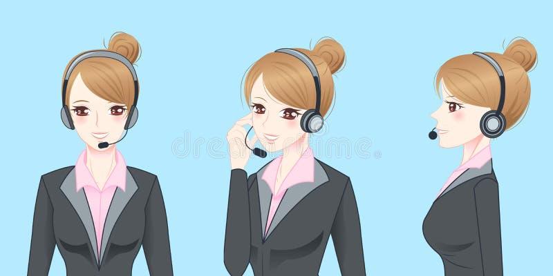Шлемофон телефона носки бизнес-леди иллюстрация вектора