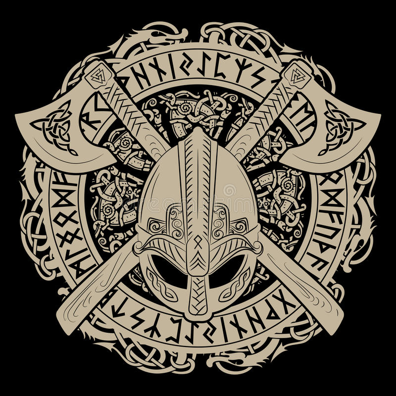 Шлем Викинга, пересеченные оси Викинга и в венке скандинавской картины и норвежских runes стоковое изображение