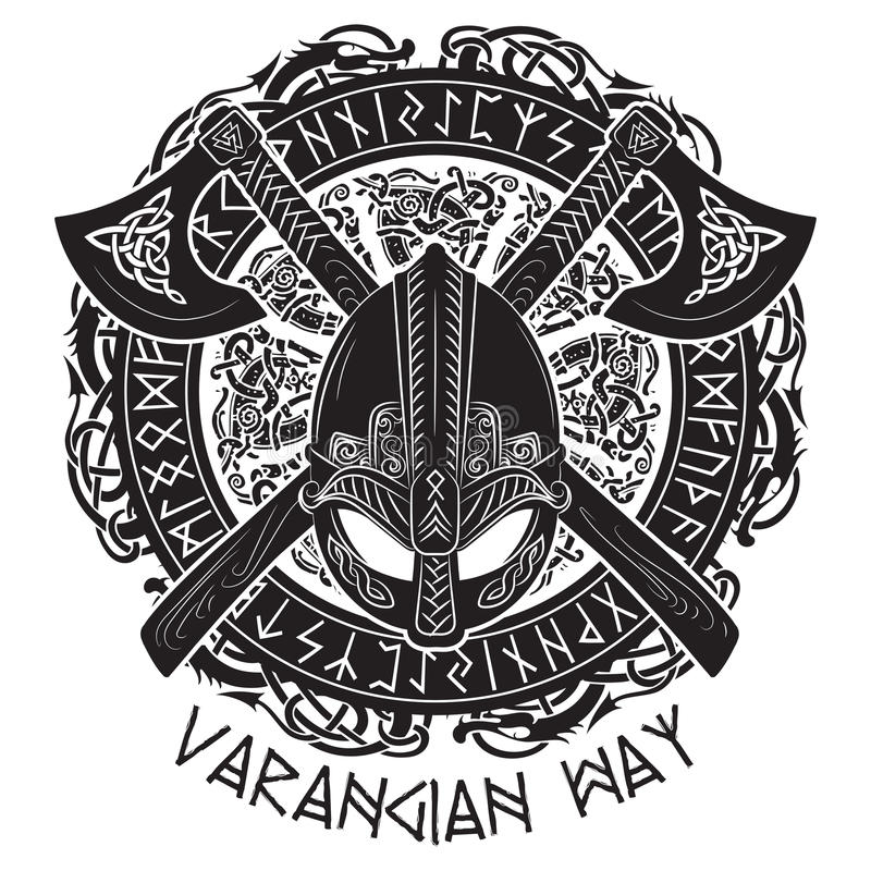 Шлем Викинга, пересеченные оси Викинга и в венке скандинавской картины и норвежских runes стоковое фото
