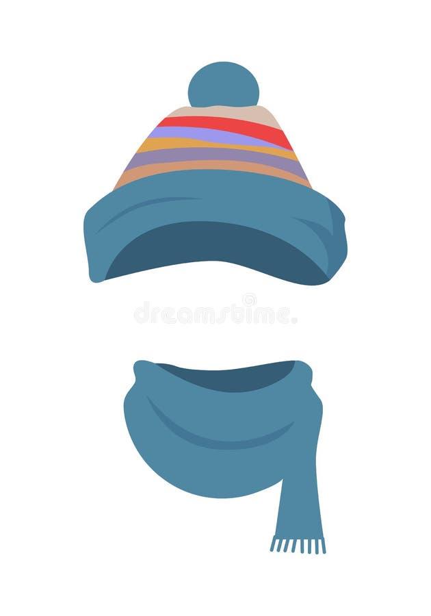шлем Красочный Striped Headwear и переплетенный шарф иллюстрация штока