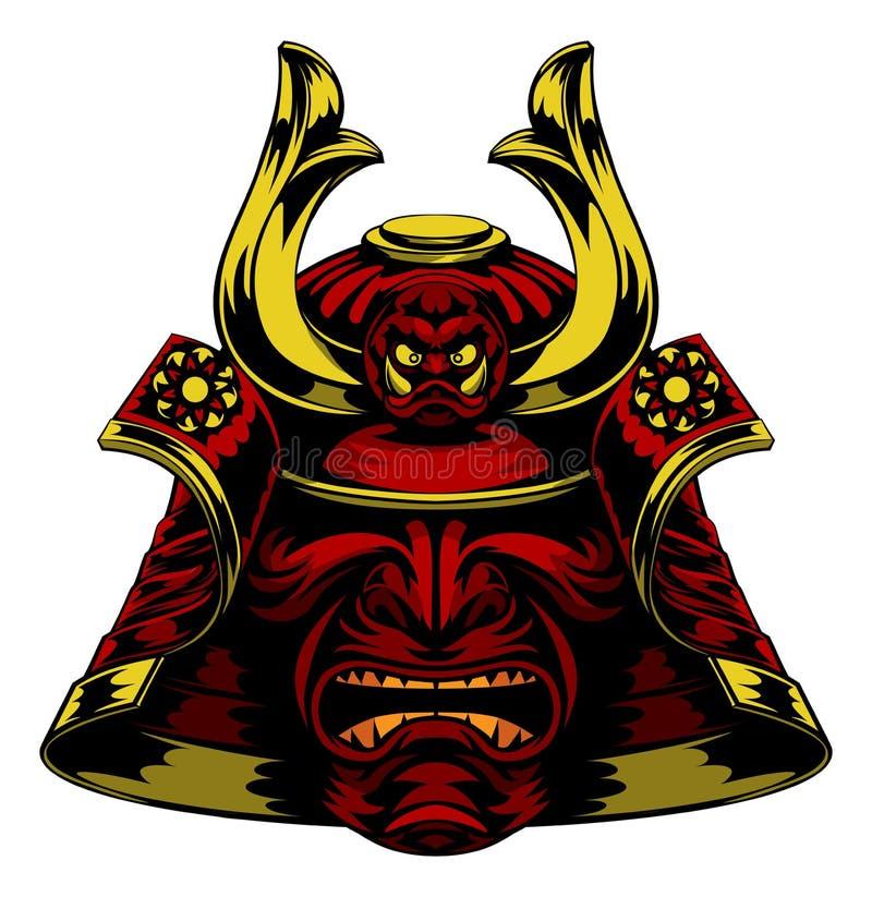 Шлем маски самураев иллюстрация вектора
