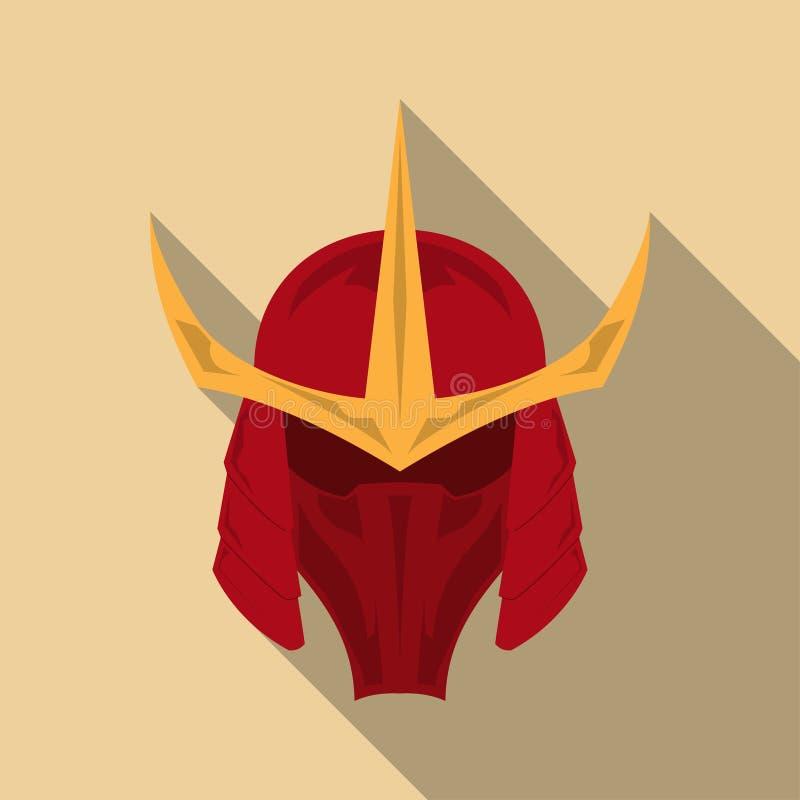 Шлем панцыря самураев с длинной тенью в плоском дизайне Иллюстрация EPS10 вектора бесплатная иллюстрация