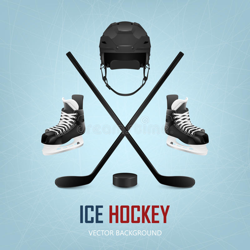 Шлем, шайба, ручки и коньки хоккея на льде иллюстрация вектора