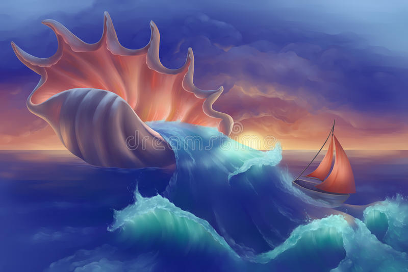 Шлюпка в океане бесплатная иллюстрация