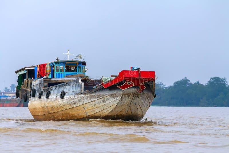 Шлюпка груза, река, Меконг стоковая фотография rf