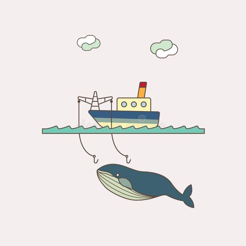Шлюпка и рыбная ловля иллюстрация вектора