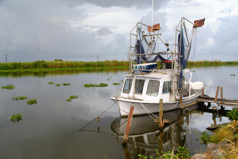 Шлюпка креветки Луизианы стоковое фото rf