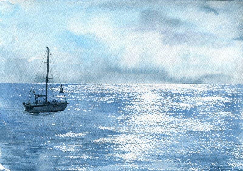 Шлюпка моря акварели иллюстрация штока