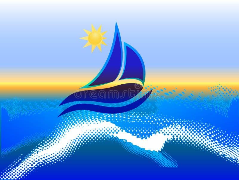 Шлюпка на море иллюстрация вектора
