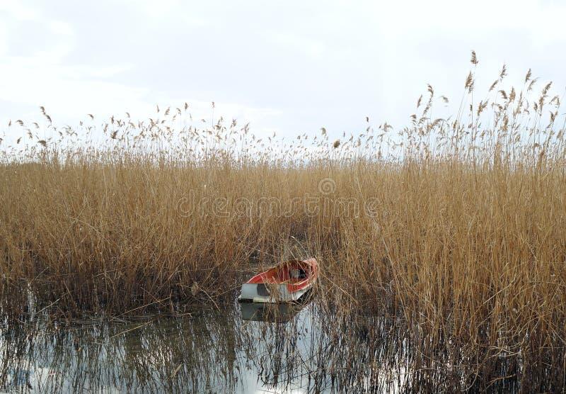Шлюпка причаленная на озере Ohrid стоковое фото