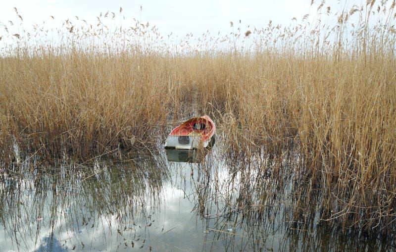 Шлюпка причаленная на озере Ohrid стоковая фотография