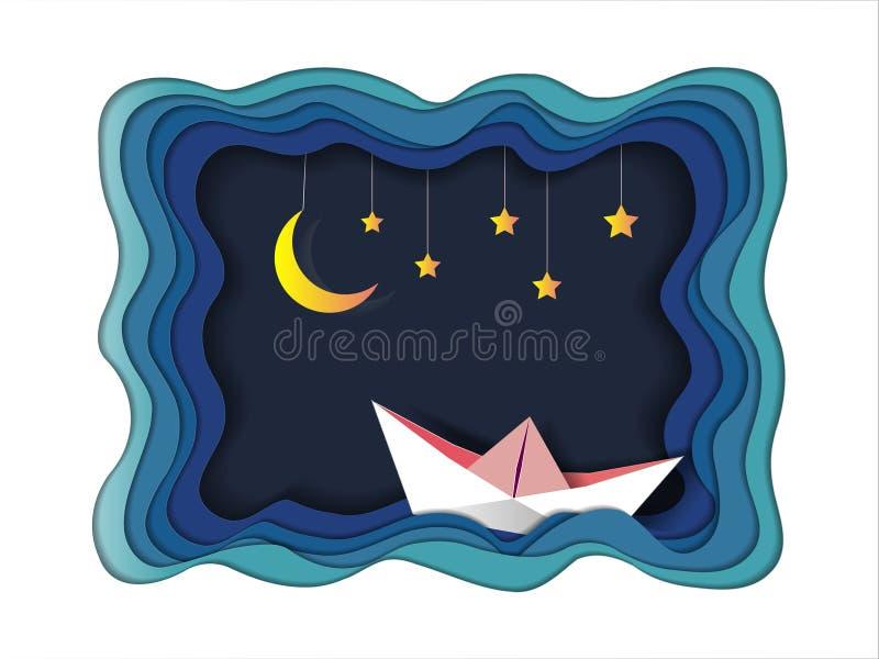 Шлюпка плавает в море под светом и звездами луны, доброй ночи и концепцией черни origami сладостной мечты иллюстрация штока