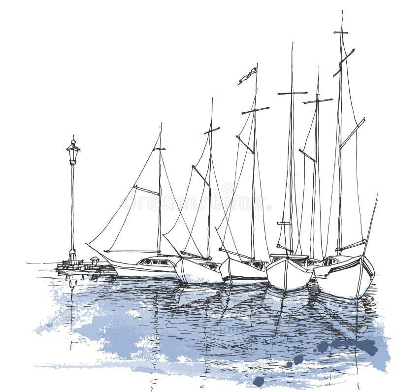 Шлюпки на воде иллюстрация штока