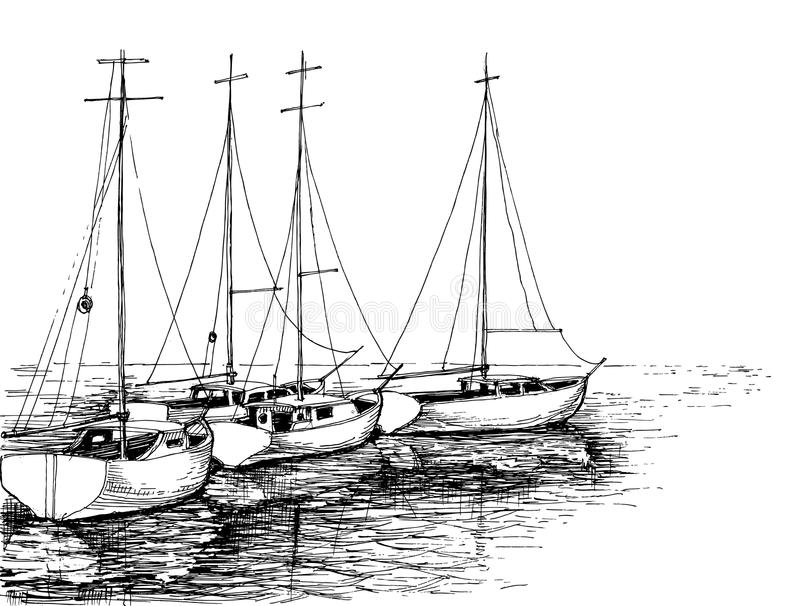 Шлюпки на море иллюстрация штока