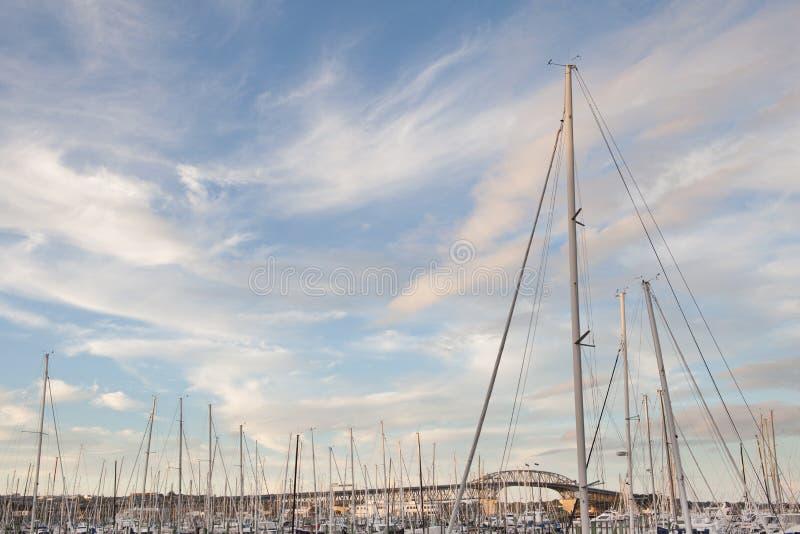 Шлюпки причаливая с предпосылкой моста гавани Окленда в Окленде стоковые фотографии rf