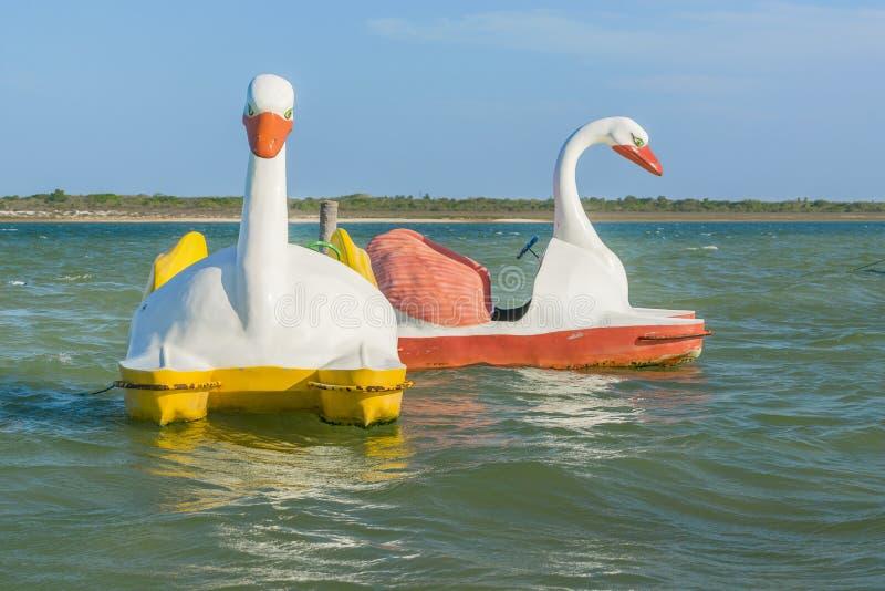 Шлюпки формы утки на Lagoa делают Paraiso Jericoacoara Бразилию стоковые фотографии rf