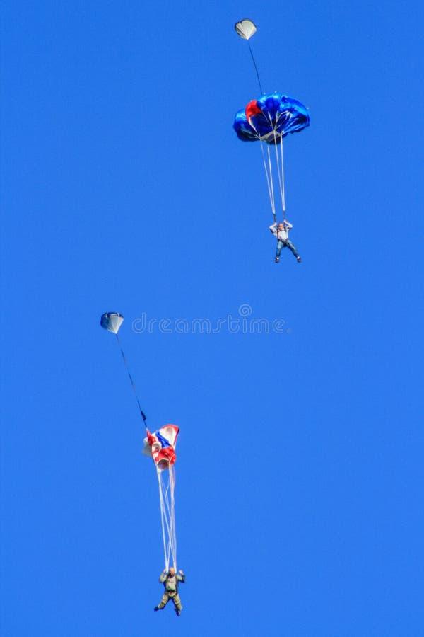 2 шлямбура основания Skydiving падая быстро стоковая фотография rf