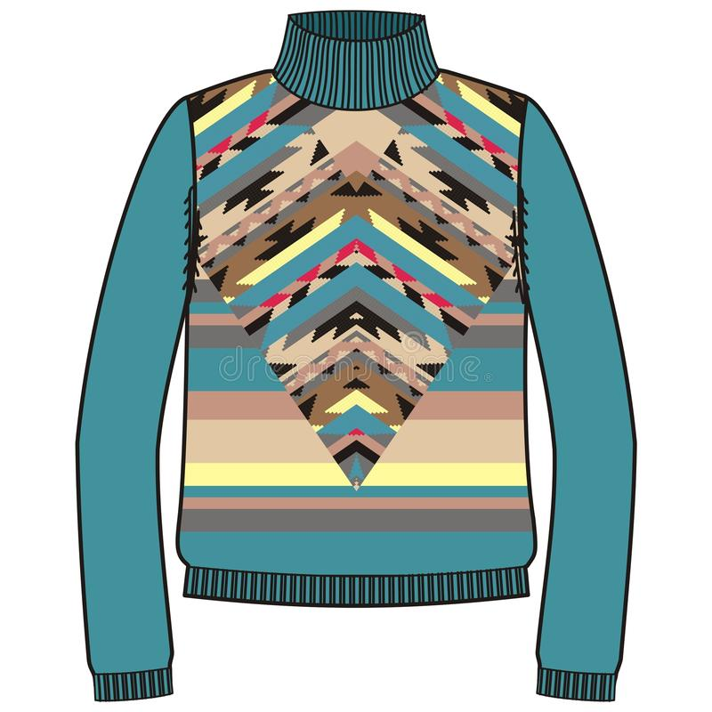 Шлямбур зимы теплый племенной для navajo коренного американца knit handmade, стиля фуфайки иллюстрация штока