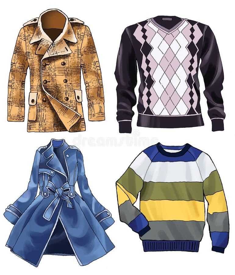 Шлямбур пальто одевает моду jersey иллюстрация штока