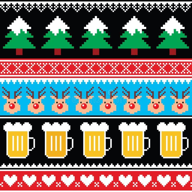 Шлямбур рождества или картина свитера безшовная с пивом, северным оленем и деревьями бесплатная иллюстрация