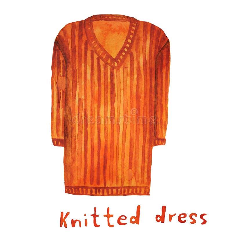шлямбур Связанное платье Иллюстрация растра иллюстрация вектора