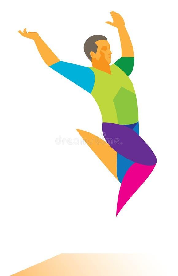Шлямбур спортсмена длинный носит далекую скачку иллюстрация штока