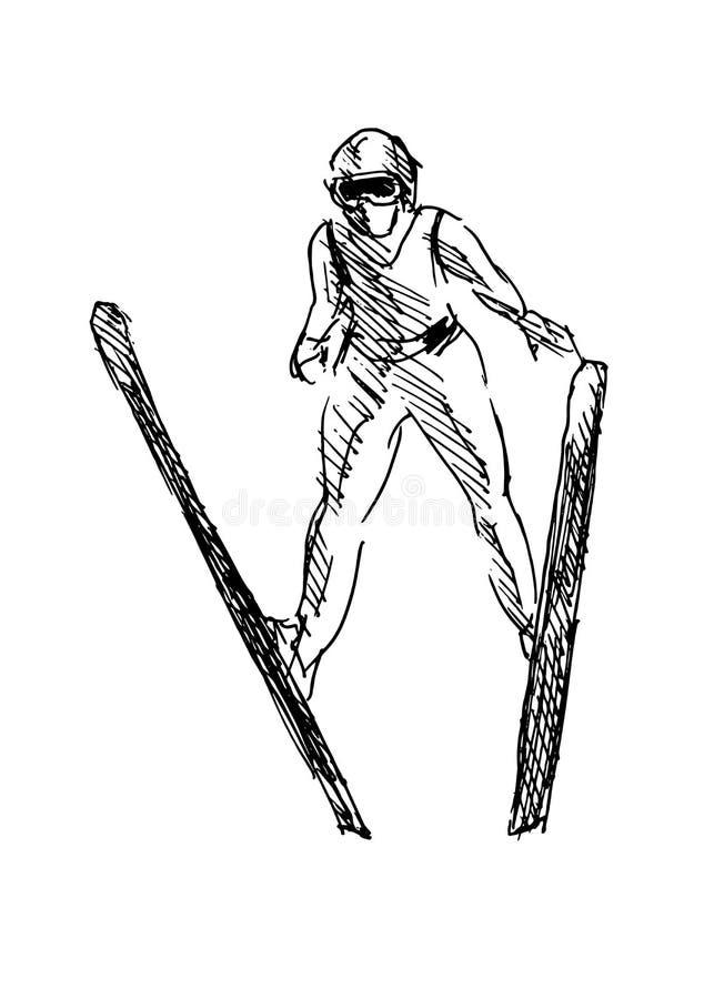 Шлямбур лыжи эскиза руки иллюстрация штока