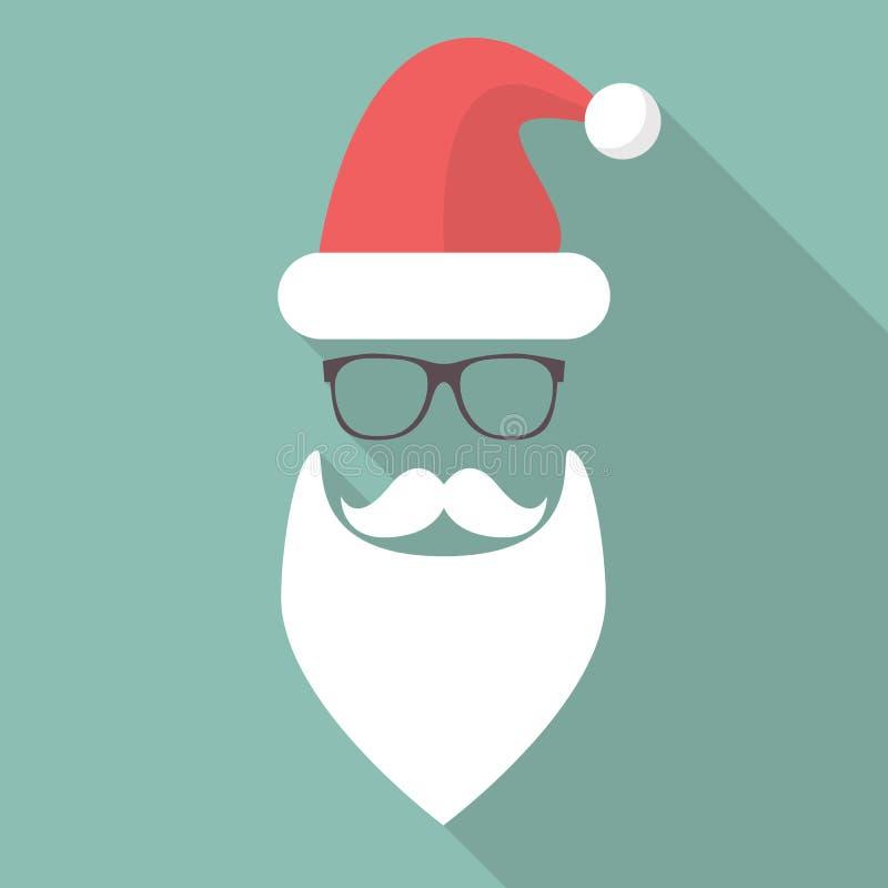 Шляпа, борода, усик и стекла Санты иллюстрация штока